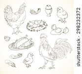 freehand drawing chicken items... | Shutterstock .eps vector #298232372