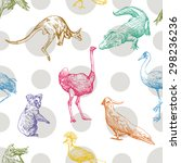 pattern with animals and birds  ... | Shutterstock .eps vector #298236236