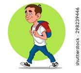 schoolboy goes to school....   Shutterstock .eps vector #298239446