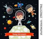 Astronaut Kids On An Space...