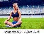 fitness woman on stadium... | Shutterstock . vector #298258676