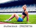 fitness woman on stadium doing... | Shutterstock . vector #298258736