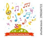 cute bird tweeting and singing...   Shutterstock .eps vector #298260722