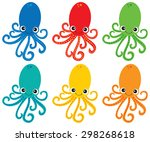 octopus vector clip art | Shutterstock .eps vector #298268618