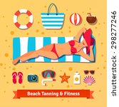 pretty woman tanning on the... | Shutterstock .eps vector #298277246
