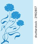 three blue roses on a cyan ... | Shutterstock . vector #2982807