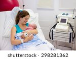 mother giving birth to a baby.... | Shutterstock . vector #298281362