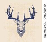 Deer Head  Vintage Hand Drawn...