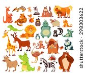 great set of cartoon animals ... | Shutterstock .eps vector #298303622