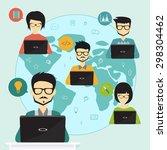 teamwork concept  freelancer... | Shutterstock .eps vector #298304462