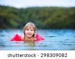cute happy little girl learning ... | Shutterstock . vector #298309082