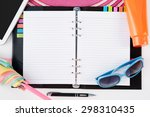 diary notebook straw hat tablet ... | Shutterstock . vector #298310435