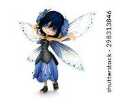 Cute Toon Fairy Wearing Blue...