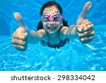 little girl dives into the... | Shutterstock . vector #298334042