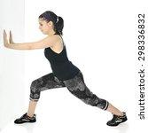 a pretty teen girl stretching... | Shutterstock . vector #298336832