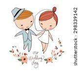 hand drawn wedding couple | Shutterstock .eps vector #298339142