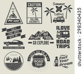road trip badges travel quote | Shutterstock .eps vector #298340435