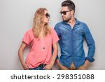 cute young couple leaning on a...   Shutterstock . vector #298351088