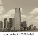 jersey city skyline over hudson ... | Shutterstock . vector #298354142