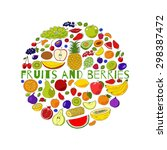round from fruits and berries.... | Shutterstock .eps vector #298387472