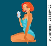 Pin Up Girl With Glass Of Milk...