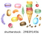 watercolor set of macaroons and ... | Shutterstock . vector #298391456