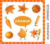 learn the color orange   things ... | Shutterstock .eps vector #298400126