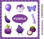 learn the color purple  things... | Shutterstock .eps vector #298400282