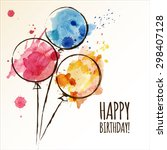happy birthday card with doodle ... | Shutterstock .eps vector #298407128