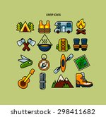 set of camp color icons  | Shutterstock .eps vector #298411682