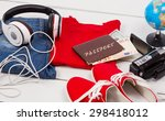 passport and other stuff for... | Shutterstock . vector #298418012