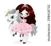 beautiful princess with pink... | Shutterstock .eps vector #298418732