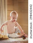 cute baby on the table smudgy... | Shutterstock . vector #298432442