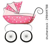 pink baby carriage isolated on... | Shutterstock .eps vector #298449788