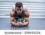 portrait of a muscular man on... | Shutterstock . vector #298453136