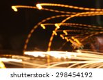 blurred of car in city at night | Shutterstock . vector #298454192