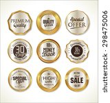 quality golden badges collection | Shutterstock .eps vector #298475006