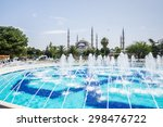 panorama of blue mosque with... | Shutterstock . vector #298476722