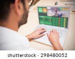 gambling app screen against man ... | Shutterstock . vector #298480052