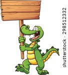 Cartoon Crocodile With A Woode...