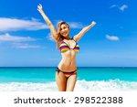 beautiful young girl in bikini... | Shutterstock . vector #298522388