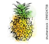 bright color pineapple fruit....   Shutterstock .eps vector #298524758