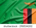 zambia flag on soft and smooth... | Shutterstock . vector #298534202