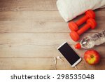 fitness background with bottle... | Shutterstock . vector #298535048