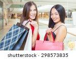 two fashion girlfriends... | Shutterstock . vector #298573835