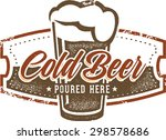 vintage style cold beer bar sign | Shutterstock .eps vector #298578686
