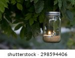 mason jar candle hanging on... | Shutterstock . vector #298594406