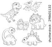 set of cartoon dinosaurs. black ... | Shutterstock .eps vector #298601132