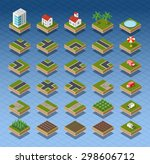 isometric city map road  trees... | Shutterstock . vector #298606712