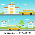 road to and from school. school ... | Shutterstock .eps vector #298607972